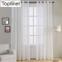 Top Finel Modern Soild White Sheer Curtains for Living Room Bedroom Kitchen Door Cafe Voile Tulle Window Curtains Plain Pleated