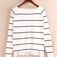 White and Black Long Sleeve Stripe Shirt
