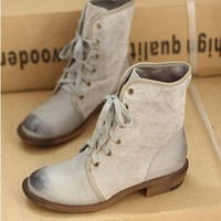 Grey Retro Lace Up Martin Boots