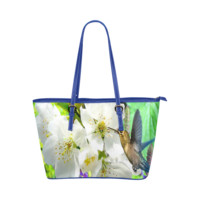 Peach Blossom Hummingbird Leather Tote Bag/Large (Model 1651) | ID: D402981
