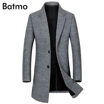 Batmo 2017 new arrival winter high quality wool men's black Single Breasted trench coat,winter coat men ,plus-size 1810
