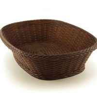 Party bowl. Brown moulded plastic outer with a weave pattern. Classic 1970's design. Emsa Party-time, West Germany.