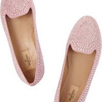 Valentino Crystal-embellished suede slippers – 35% at THE OUTNET.COM
