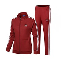 Adidas Cardigan Jacket Coat Pants Trousers Set Two-Piece Red