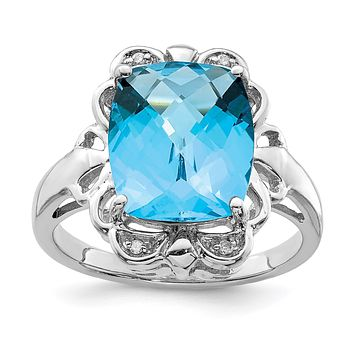 Sterling Silver Rhodium Checker-Cut Blue Topaz & Natural Diamond Gemstone Birthstone Ring Fine Jewelry Gift for Her