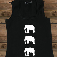 Women's Tank Elephant on a U Ladies Elephant Tank,Screen Printing Tank,Women's Tank,Black Tank,Size S, M, L