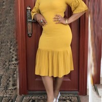 New Yellow Pleated Bodycon Elegant Church Party Maxi Dress
