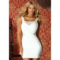 Bari - Tank dress with criss cross mesh detail by Forplay White S