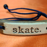 "MudLove Bracelets ""Skate"" Hand Made Clay Pendant, Multi Color Bands"