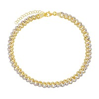 Two Tone Pavé Chain Link Anklet
