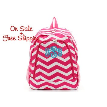 On Sale with Free Shipping 16 Inch Hot Pink and White Chevron Print School Backpack Free Monogramming With Purchase