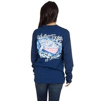 Whatever Floats Your Boat Long Sleeve Tee Shirt in Estate Blue by Lauren James