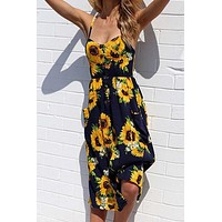 Chicnico Casual Floral Printed Braced Midi Dress