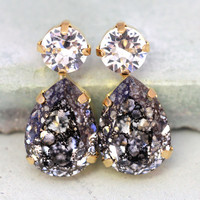 Black Patina Stud Earrings,Statement Black and White Earrings,Black Crystal Stud Earrings,Teardrop Patina Earrings,Bridal Stud Earrings