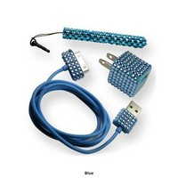 Blue Jeweled Bling 2-in-1 Charger for iPhone 4 & 4S with Stylus