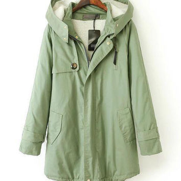 Army Green Hooded Long Sleeve Fall Jacket