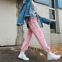 2017 Spring Summer women Europe casual Pink retro white stitching closed comfy sweatpants leisure trousers pants & capris women