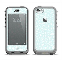 The Light Teal Blue & White Floral Sprout Apple iPhone 5c LifeProof Nuud Case Skin Set