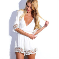 V Neck Cutout Half Sleeve Rompers