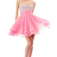 Faironly Crystal Mini Short Cocktail Homcoming Prom Dress (S, Pink)
