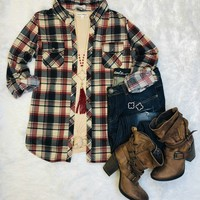 Penny Plaid Flannel Top: Ivory/Burgundy