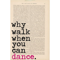 dictionary art vintage Why Walk When You Can by ExLibrisJournals