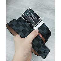 LV fashionable men's and women's casual belts are hot sellers of checked printed belts Black Tartan