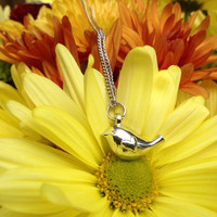 Tiny Silver Bird With Heart Shaped Wing Charm Necklace