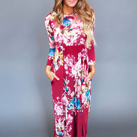 BURGUNDY MULTI FLORAL MAXI DRESS