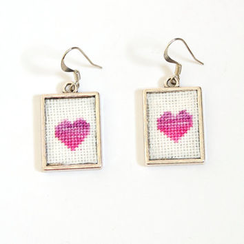 Pink Heart Cross Stitch Earrings Purple Variegated Framed by The Candy Tree