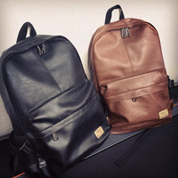 Men's Leather Waterproof Shoulder Bags Solid Soft Backpacks Traveling Bags