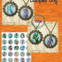 Fractal Alphabet Art - - Digital Collage Sheets - 1.5 inch Circles for Jewelry Makers, Party Favors, Wedding Projects, Crafts