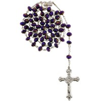 Purple Bead Rosary with Faceted Rondell Beads in 8x6mm - 28'' Necklace - 21'' Overall Length