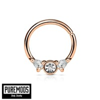 Annealed Rose Gold Septum / Cartilage Hoop With Prong Set Gems (16G)