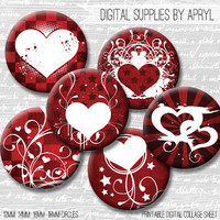 Red Heart Valentine Digital Collage Sheet 18mm 16mm 14mm 12mm Circle Round on both 4x6 8.5x11 Sheets for Earrings Pendants Cuff Links Image