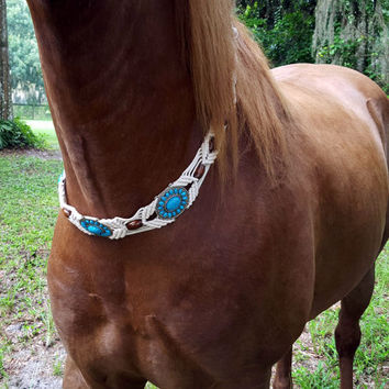 Turquoise Macrame Equine Necklace - Woven Horse Necklace - Necklace for Horses or Ponies