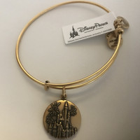 Disney Alex and Ani Mickey Walt Cinderella Castle Gold Finish Bracelet New w Tag