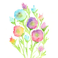 Watercolor flower painting, watercolor painting, original flower art, pink, abstract flowers, summer decor, abstract poppies, 8X10