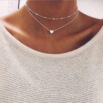 Double Layers Heart Pendant Choker