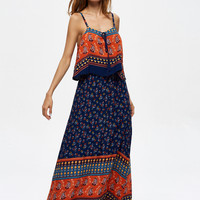 Fashion Retro Multicolor Floral Print Sleeveless Strap Maxi Dress