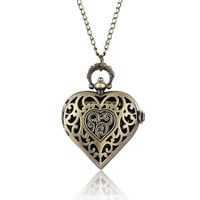 Bronze Copper Steampunk Hollow Quartz Heart-shaped Pocket Watch Necklace Pendant Chain Women Ladies Girl reloj de bolsillo P71