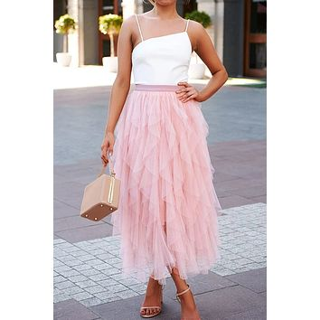 A-line Long Tulle Skirt - Pink