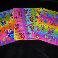 On Sale...LISA FRANK  vintage stickers  Bear sticker lot 3 sheets Cheerleader Bear Panda Painter and Hollywood Bear sticker lot