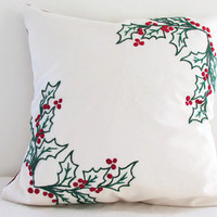 Christmas cushion cover, hand embroidered 16 inch pillow cover holly leaves and berries , festive holiday decor uk seller
