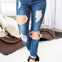 Not Official Hammer Distressed Boyfriend Jeans (Medium Wash)
