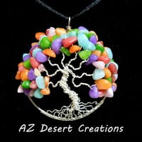 Jelly Bean Tree of Life Necklace Multi Dyed Quartzite Chips World Tree