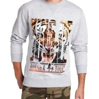 Southpole Men's Photo Real and Gold Foil Print Crew Neck Fleece with Tiger Graphics