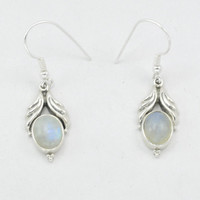 Rainbow Moonstone Earrings Sterling Silver Moonstone Dangle Silver Earrings Gemstone Earrings BlueFlash Moonstone,Gift for her stone Jewelry