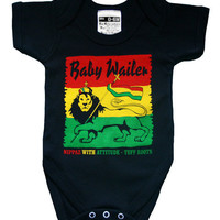 Baby Wailer Reggae Babygrow (Onesuit) a Rasta Baby tribute to Bob Marley and The Wailers 0-6 or 6-12 months
