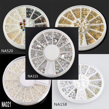 2016 Fashion New Design 3D Nail Jewelry 6 Style Strass Nail Art Decoration Clear Color Crystal Rhinestones For Nails NA153